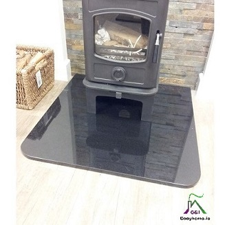 900mm x 900mm GRANITE SHAPED HEARTH SQUARE ROUNDED CORNERS