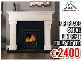 Veneto Fireplace Set with Insert Stove, Fully Fitted