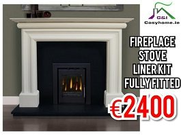 Ancona Fireplace Set with Insert Stove, Fully Fitted