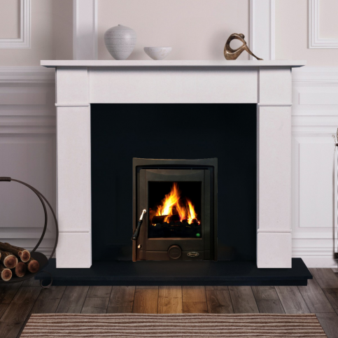 Flat Victorian Fireplace Set with Insert Stove, Fully Fitted