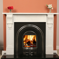The William 54″ Sorrento White Marble surround only