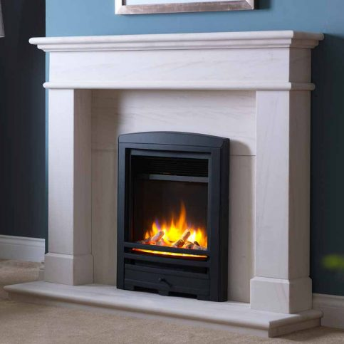 3D Electric Fire with Cast Arch Fascia Black