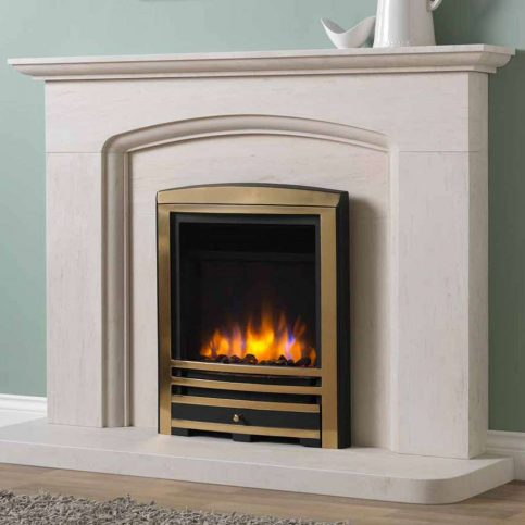 3D Electric Fire with Cast Arch Fascia Brass