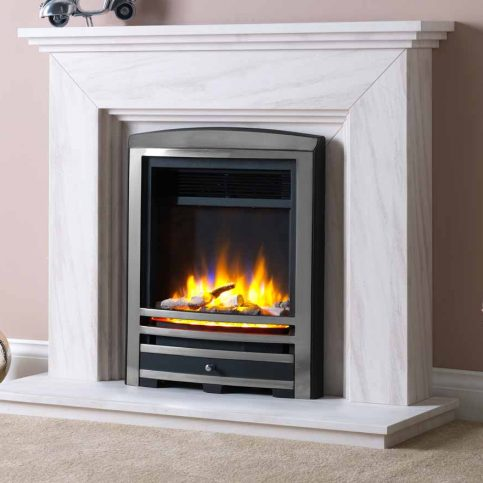3D Electric Fire with Cast Arch Fascia Chrome