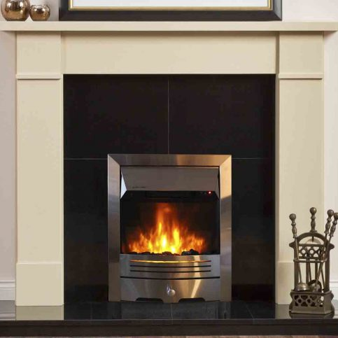 Electric Fire with Chrome Trim and Chrome Fret