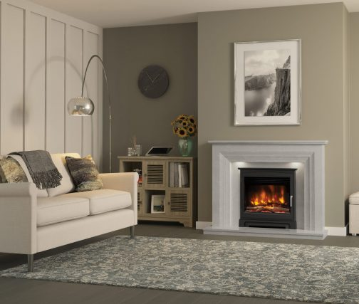22 inch PRYZM INSET FIRE CAST STOVE FRONT in Vitalia Grey