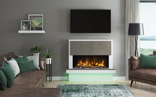 Pryzm_Caselli Chicago Concrete Wider Electric Fireplace