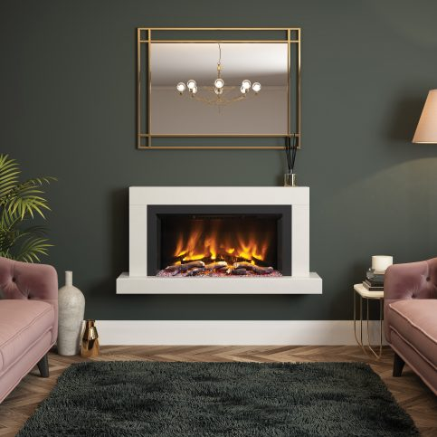 IMPERO Wall Mounted Electric Fireplace Suite