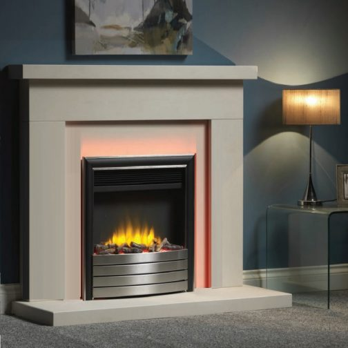 """Infinity 4D Ecoflame 16"""" Inset Electric Fire With Chrome/Black Fascia"""
