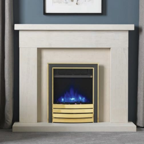 """Infinity 4D Ecoflame 16"""" Inset Electric Fire With Brass Elite Fascia"""